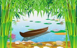 Colorful lotus in the river stock illustration