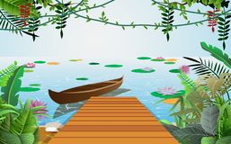 Wooden boat in the river royalty free illustration