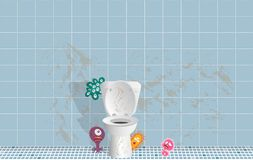 Germs in the Dirty toilet room stock illustration