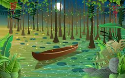 Firefly and boat in the swamp. Full moon with the stars on the sky in the night vector illustration