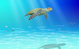 Sea turtle swimming in the sea royalty free illustration