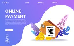 Online payment concept illustration set vector illustration