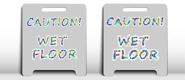Two sign with the inscription `caution wet floor` vector illustration