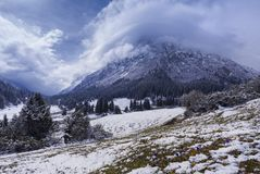Nice nature landscape view of snowy mountains stock photos
