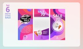 Instagram stories sale set. stock illustration