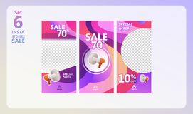 Instagram stories sale set. Use for stories, banner, background, instagram template photo, summer sale, website, mobile app, poster, flyer, coupon, gift card royalty free illustration