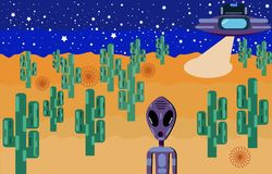 An alien with big eyes landed in the desert on a flying saucer. royalty free illustration