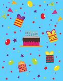 Holiday set with chocolate cake, balls and gifts. vector illustration