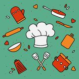Chef`s hat surrounded by kitchen utensils. royalty free illustration
