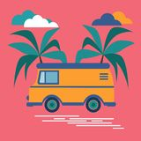 Yellow car rides on the road past the palm trees. There are beautiful clouds in the sky. royalty free illustration