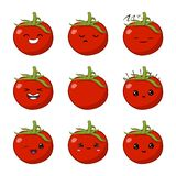 Vector illustration of an tomato Cute cartoon vegetable vector character set isolated on white. Emotions. Stickers. kawaii stock illustration