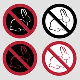 Set of 4 icons - no testing on animals. vector illustration
