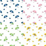 Umbrellas and hearts with shadows - seamless repeat pattern in 4 colors. stock illustration