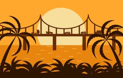 Bridge Silhouette with Traffic in the Sunlight vector illustration