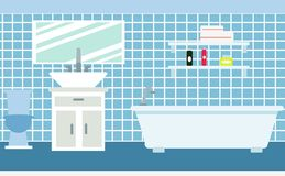 Bathroom in flat style. Set of bath, bedside tables,faucet, hygiene items, shelves, toilet. royalty free illustration