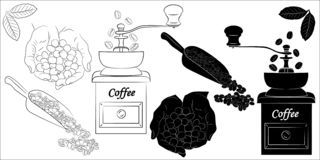 Coffee silhouette and sketch stock illustration