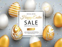 Easter Sale banner design with square frame, gold ornate eggs and confetti. Holiday Easter background with place for your text. Modern style greeting card or vector illustration