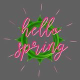 Hello spring lettering realistic vector leaves vector illustration