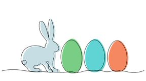 Easter background with bunny and eggs vector illustration. Easter background with bunny and eggs one line draw, vector illustration royalty free illustration