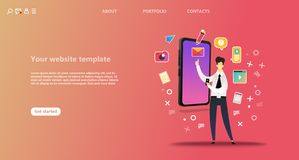 Business landing page template. vector illustration
