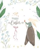 Vintage greeting card with bunny character and design elements for the Easter holiday. Easter bunny, egg, daisy and lily of the va. Lley flowers, butterflies royalty free illustration