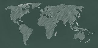 World map on chalkboard. stock illustration