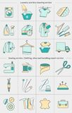 Big set of vector linear icons, labels, logos. Dry cleaning laundry and cloth washing, sewing, clothing repair service royalty free illustration