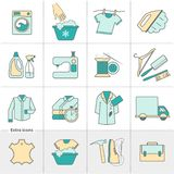 Dry cleaning laundry and cloth washing service vector linear icons labels, logos stock illustration