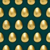 Dark teal pattern with golden eggs stock illustration