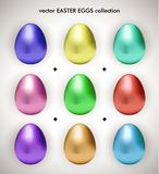 Vector easter metallic eggs collection. 9 multicolor metallic easter eggs collection on white gradient background vector illustration