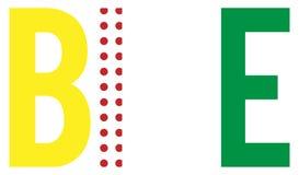BIKE word with Tour colours. BIKE letters using Tour de France winners colours vector illustration