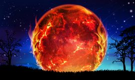 Sun explode, burning in flames, global disaster, planet destruction. Burning sun, hot red and orange round shape in flames on night blue sky with stars and stock illustration