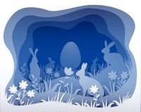 Easter monochrome illustration. Imitation of paper art royalty free illustration