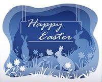 Monochrome Easter illustration in the style of paper art with your text stock illustration