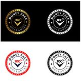 Set Of Four 100% Money Back Guarantee Emblem Seals Vector vector illustration