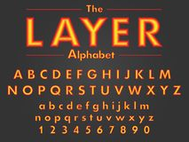 Vector of colorful bright multi-layer font and alphabet stock illustration
