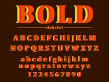 Vector of retro bold font and alphabet royalty free illustration
