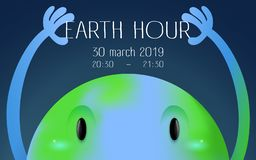 Earth hour banner with a big looking earth character vector illustration