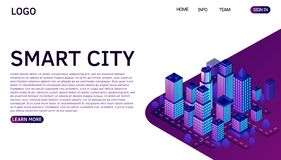 Smart city or intelligent building isometric vector concept. Website landing page template. vector illustration