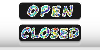 Two plates with the words `open` and `closed` on a black background. stock illustration