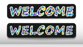 A sign that says `welcome` for the store, or any other institution of the service sector. A sign that says `welcome` for the store, or any other institution of vector illustration