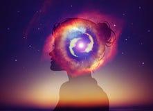 Woman Head Universe Inspiration Enlightenment Spiritual awakening. Woman head Universe, nebula galaxy, deep space. Concept for enlightenment, power, illumination vector illustration