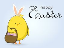 Easter card with cute chicken, Easter eggs on blue background stock illustration