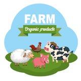 Farm scene organic products label. Flat vector illustration. Farm scene organic products label. Cow, pig sheep and rooster. Flat vector illustration vector illustration