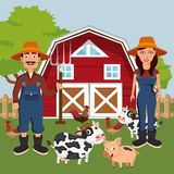 Animals in the farm scene. Nature and country concept. Flat vector