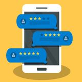 Concept of feedback, testimonials messages and notifications. Speech bubbles on mobile phone with review rating, flat style smart. Phone reviews stars with good royalty free illustration