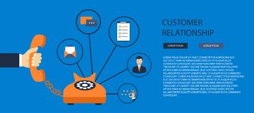 Business customer care service concept. Icons set of contact us, support, help, phone call and website click. Flat vector vector illustration
