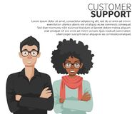 Business customer care service technicians. Support concept. Flat vector royalty free illustration
