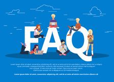 Frequently asked questions concept illustration of young people standing near letters. Flat vector vector illustration