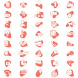 Set of vector business icons. Simple business icons. Flat minimal design style. In living coral color vector illustration